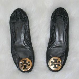 Tory Burch ~ Black Leather Ballet Flats 10